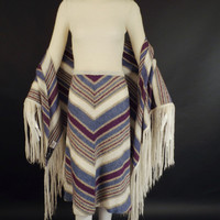 1970s Knitted Winter Dress and Shawl, Bust-34