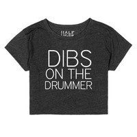 Drummer crop top-Female Heather Onyx T-Shirt