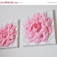"MOTHERS DAY SALE Two Wall Flowers -Light Pink Dahlia Flowers on White, Taupe and Light Pink Damask Print 12 x12"" Canvas Wall Art- Baby Nurse"