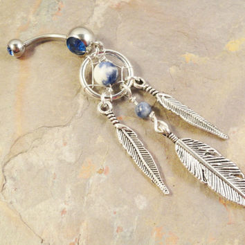 Blue Sodalite Dream Catcher Belly Button Jewelry Ring Tribal
