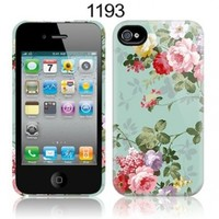 TaylorHe Vintage Floral Patterns for Her iPhone 4 iPhone 4S Hard Case Printed Phone Case MADE IN THE UK All Around Printed on Sides 3D Sublimation Highest Quality