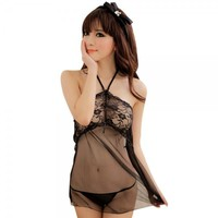 Sexy Lace Halter See Through Women's Lingerie Set Black