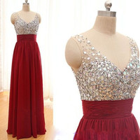 Burgundy Cocktail dresses Straight  Long V neckline Straps Backless Silver Beaded Crystals Wine Red Prom Formal Dress