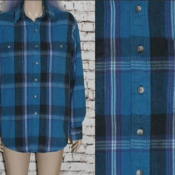 90s Flannel Shirt Plaid Blue Black Purple White Button Up Down M L Grunge Punk Hipster Festival Mens Wear Jacket 80s Tartan