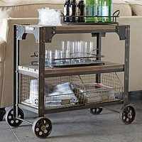 """Vintage Industrial Rolling Cart With Wire Basket Storage - 36"""""""