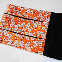Orange zippered pouch - reader sleeve - book cozy - cherry blossom cotton fabric - asian inspired - small clutch purse - white flower