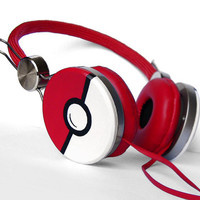 Poke-phones Headphones earphones red hand painted