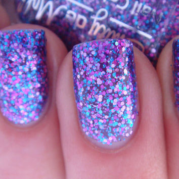 "Nail polish - ""Warrior Princess"" pink, blue and purple glitter in a sheer purple base"