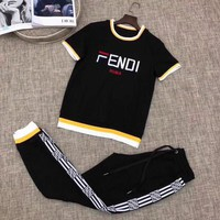 FENDI Women Letter Print Short Sleeve Top Pants Two-Piece