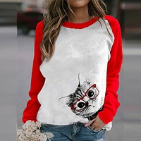 fhotwinter19 hot sale loose plus size women cat print long sleeve T-shirt