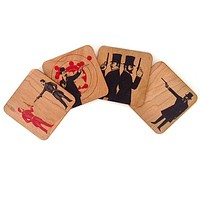 Wood Coasters Gun Men