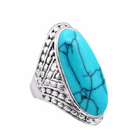 Vintage Antique Silver Plated Oval Turquoise Ring