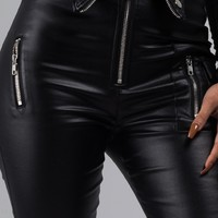 AKIRA Label Waxed Stretch Pant with Pocket and Zipper Detail and Raised Waist in Black