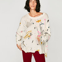 SWEATER WITH PAINTED BRUSH STROKES DETAILS