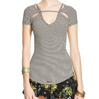 Free PeopleFrenchie Striped Cutout Top