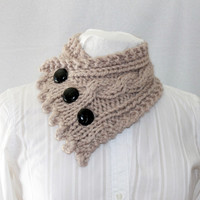 Cable Knit Cowl, Neck Warmer, Knitted Cowl, Tan Cowl, Fishermans Wife Cowl