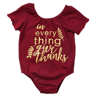 Newborn Baby Girls Wine Short Sleeve Romper Letter Printed Jumpsuit Outfits Set Cotton Clothes 0-2T