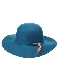Teal Feather-Embellished Felt Floppy Hat by Charlotte Russe