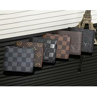 Louis Vuitton classic old checkered fashion card holder short wallet