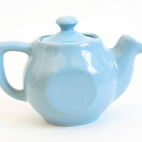 Vintage Chefsware Personal Teapot, Turquoise Blue Restaurant Ware Mini Tea Pot, Made in USA