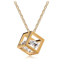 Gold/Silver Cube Gem Crystal Pendant Necklace Love Gift Women Jewelry