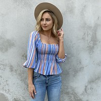 Beach Club Stripe Off Shoulder Top