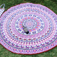 Indian Mandala Roundie with Pum Pum lace, Tablecloth Beach Towel, Round Mandala Beach Sheet, Meditation Yoga Mat With & Beautiful Carry Bag
