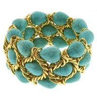 Triple Strands Simulated Green Turquoise & Gold Color Mesh 7 Inch Strech Bangle Bracelet For Women