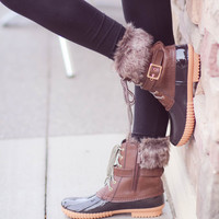 Fur Duck Boots In The Snow-Brown