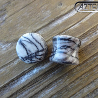 PICASSO JASPER Stone PLUGS Double Flare Design -1 New Pair-Choose Size 8g- 6g -4g or 2 gauge