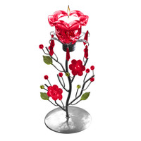 Evelots® Rose Tea Candle Holder Stand Centerpiece, Decorative Gifts & Decor, Red