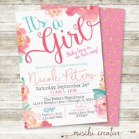 """Watercolor Floral Baby Shower Invitation in Pinks, Corals and Aqua, 5"""" x 7"""""""