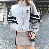 Adidas Autumn And Winter New Fashion Letter Leaf Print Women Leisure Long Sleeve Top Coat And Skirt Two Piece Suit Gray