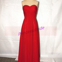Floor length bridesmaid dresses,red chiffon bridesmaid gowns hot,simple women dress for evening party,cheap prom dresses.