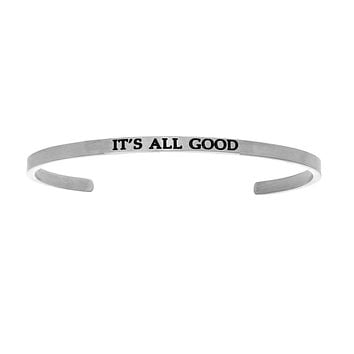 Intuitions Stainless Steel IT'S ALL GOOD Diamond Accent Cuff Bangle Bracelet