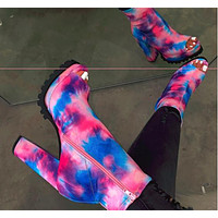 High waterproof platform Fish mouth boots Tie-dye Color printing Women's shoes  Blue&Pink (Cloud tie dye)