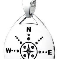 """Sterling Silver """"Those Who Wander Are Not Necessarily Lost"""" Reversible Pendant Necklace, 18"""""""