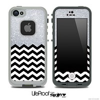 Mixed Silver Sparkle Print and Chevron Pattern Skin for the iPhone 5 or 4/4s LifeProof Case