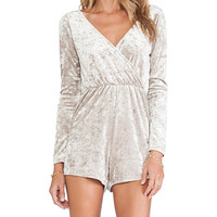 OH MY LOVE Wrap Playsuit in Gray