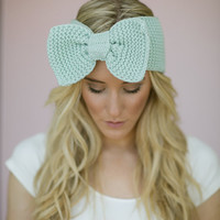 Wide Bow Headband, Knitted Ear Warmer, Women's Accessories, Fall Headband, Stocking Stuffer, For Her, Knitted Bow Headband in Mint (HBK3-4)