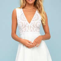 Florentia White Crochet Lace Skater Dress