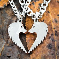 Wolf Necklaces making a heart