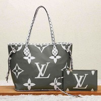LV Newest Women Shopping Leather Handbag Tote Shoulder Bag Purse Wallet Set Two-Piece Grey Green