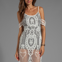 For Love & Lemons Vienna Off The Shoulder Mini Lace Dress with Contrast Lining in Ivory from REVOLVEclothing.com