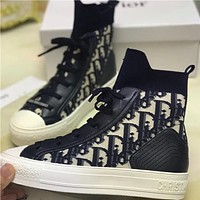 Dior CD Knitted High-Top Shoes Breathable Female Student Flat All-match Shoes
