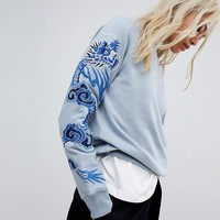 Maharishi Crew Neck Sweater With Dragon Embroidery at asos.com