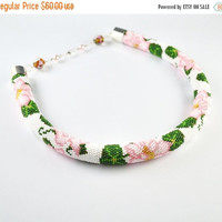 Cyber Monday SALE  Flower necklace, bead crochet rope, jewelry necklace, pink, green necklace