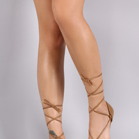 Qupid Woven Pointy Toe Lace Up Dorsay Ballet Flat