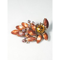 Autumn Vintage Beau jewels brown givre and Aurora Borealis fall brooch pin