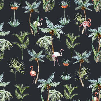 King Flamingo Removable Wallpaper